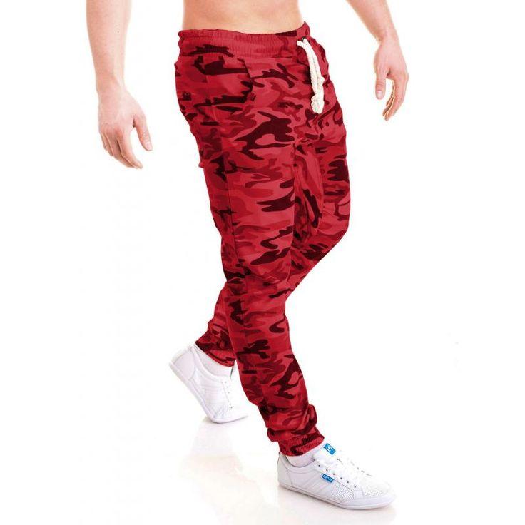 Pánske jogger nohavice s maskáčovým efektom