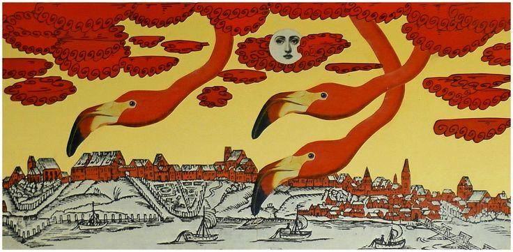 Miasto zapada w sen, [collage 20 x 50 cm], 2011