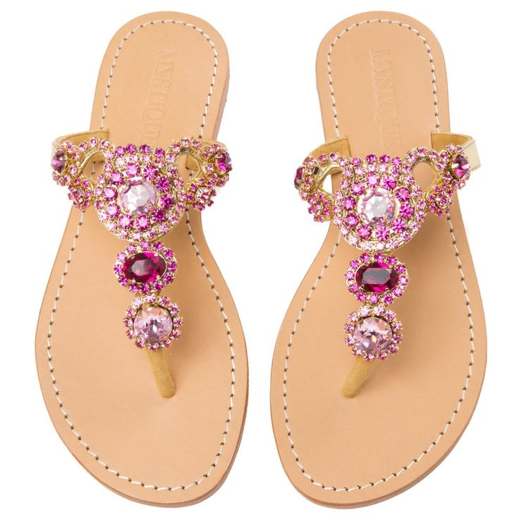 Madrid - Women's Leather Jeweled Sandals - Mystique Sandals