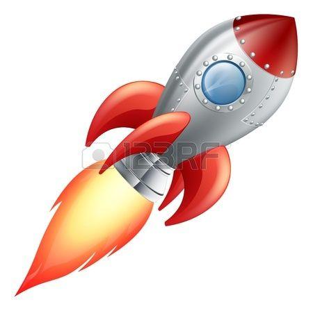Illustrazione di un simpatico cartone animato razzo nave spaziale