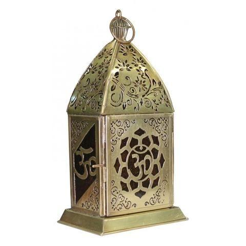 Om Gold Finish Metal Lantern - The Hippie House