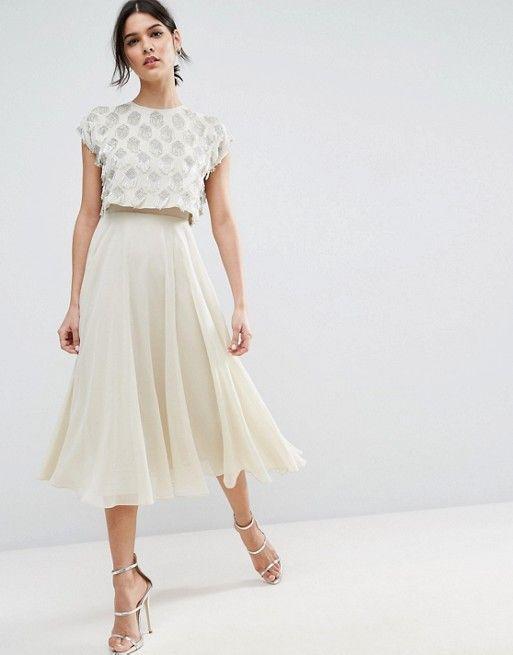 ASOS Fringe Embellished Crop Top Midi Skater Dress