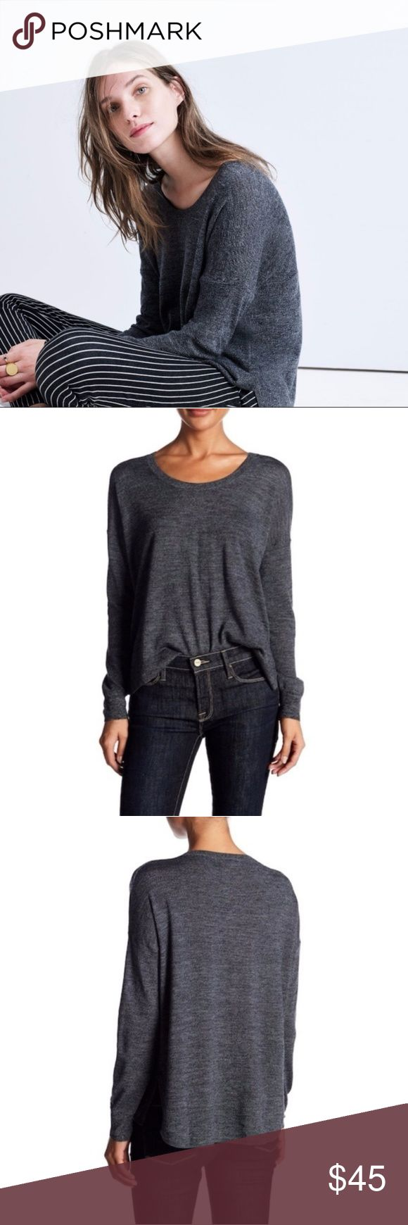 """New MADEWELL Long Sleeve Merino Wool Pullover A long sleeve merino wool pullover with solid details, hi-lo hem and knit construction. - Crew neck - Long sleeves - Merino wool construction - Solid - Approx. 25"""" shortest length, 28"""" longest length (size S)  Never worn.  A small pucker on the back of one shoulder where a tiny hole was darned.  Hardly noticeable, see pics. Otherwise excellent condition.  Size M.  Color is """"Heather Ebony.""""  No trades. Madewell Tops"""