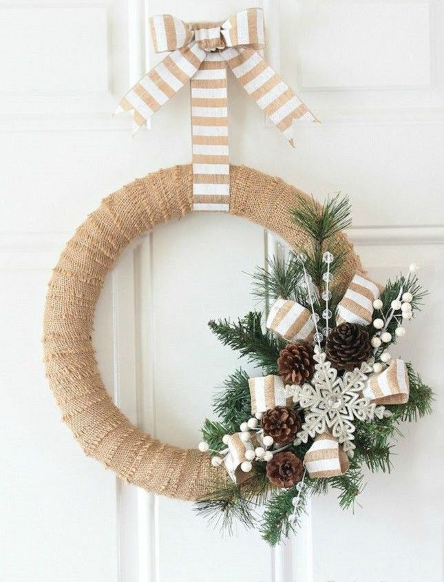 You can't go wrong with a rustic burlap wreath.