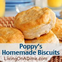 These biscuits are so yummy! If you have ever had Popeye's biscuits you will know what I mean. These are a really close match. Don't be afraid of these because they are made from scratch. They are really very simple with only 4 ingredients. I have known many inexperienced cooks who had great success with biscuits. Try them. I think you'll like them! Click here to get this Popeye's biscuits copycat recipe. http://www.livingonadime.com/poppys-biscuits-popeyes/