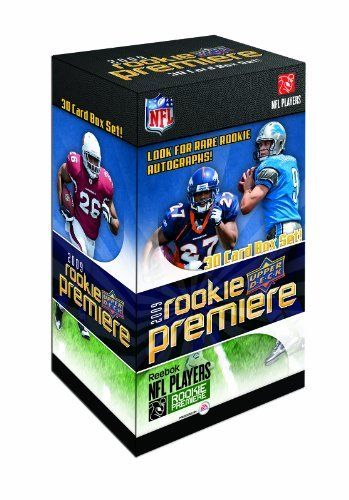 NFL 2009 Upper Deck Rookie Premiere NFL Boxed Set by Upper Deck. $19.97. Made in the USA. Comes in box Set. Features upper deck rookie. Key Selling Points: Collect all the top 2009 Rookies in their new NFL uniforms, including top starting QB Mark Sanchez of the Jets. Look for one 2009 Rookie Autograph in every 20 boxes. Every box delivers the top 30 Rookies that assembled at the 2009 Rookie Premiere event. Regular Set - Featuring the top rookies from the 2009 NFL...