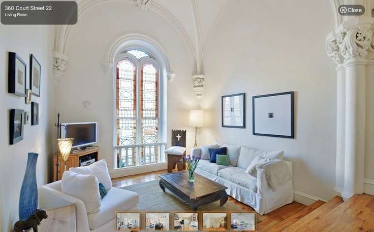 CONVERTED CHURCH: 360 Court Street in Brooklyn. 9/26/2012 via Curbed NY: Court Street, 360 Court, Amazing Convertible, Convertible Church, Dreams House, Living Room, Interiors Design, Convertible Spaces, Old Churches