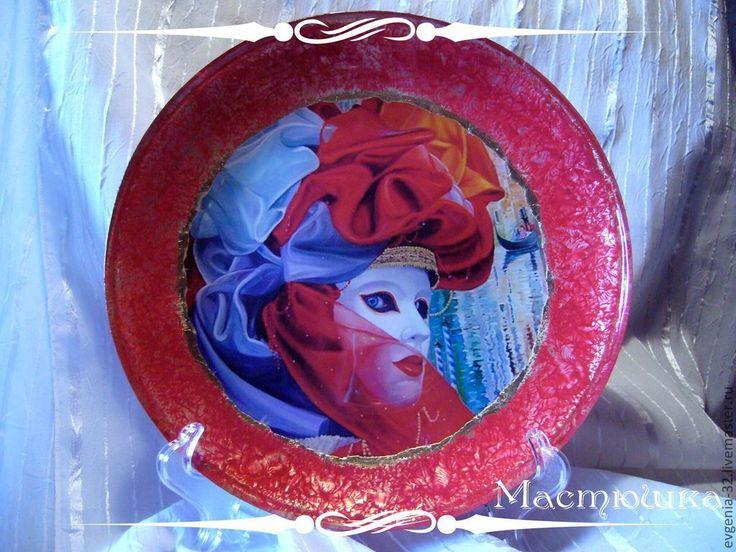 """Купить Тарелка """"Кусочек Венеции"""" - тарелка, венеция, венецианская маска, венецианский карнавал, Стеклянная тарелка"""