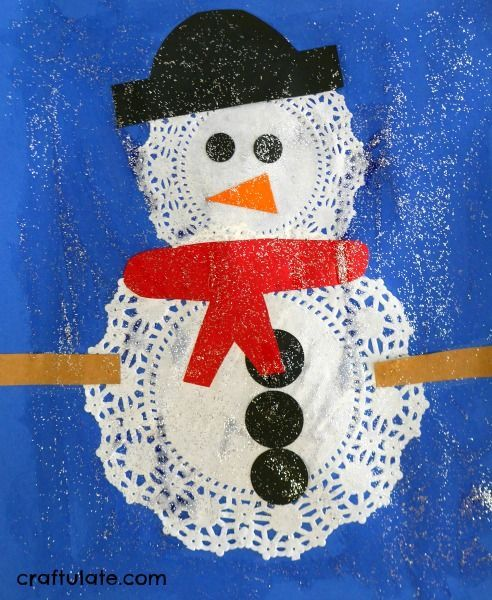 e099adbdfc23 Kids will love this easy and fun snowman craft made from paper doilies!