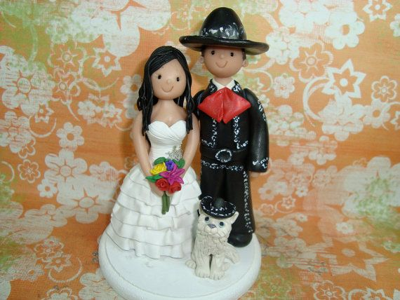 Custom Made Bride and Groom Wedding Cake Topper by mudcards, $135.00