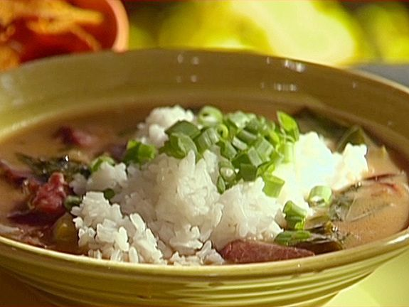 Smoked Turkey and Collard Green Gumbo recipe from Emeril Lagasse via Food Network
