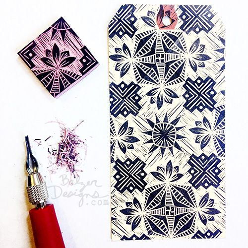 """By Julie Fei-Fan Balzer - Rotating repeat stamp with a """"wood cut style"""" background"""