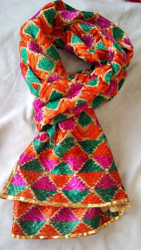 Phulkari hand embroidered scarf. #phulkari #palakscreations #sequins #bright #colors
