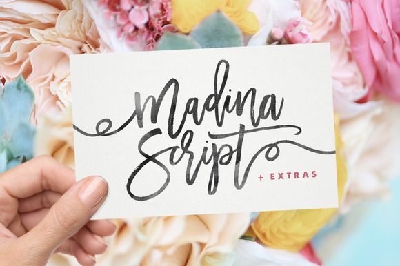 Madina Script + Extras by Sam Parrett on @creativemarket