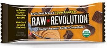 A bulk box of 12 bars of Raw Revolution Chunky Peanut Butter.