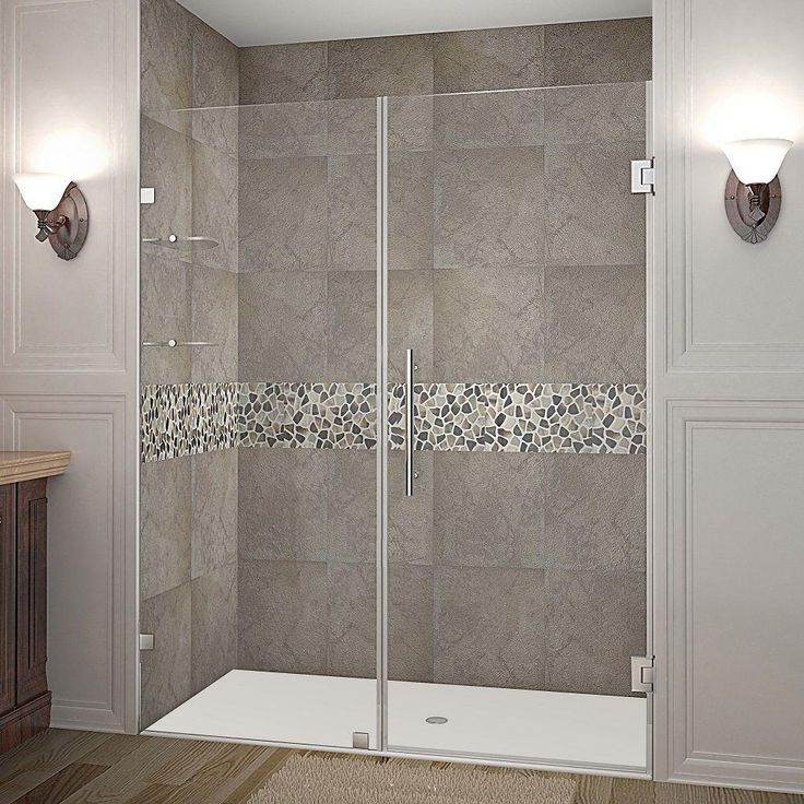 Aston Nautis GS 60 in. x 72 in. Frameless Hinged Shower Door in Stainless Steel with Glass Shelves
