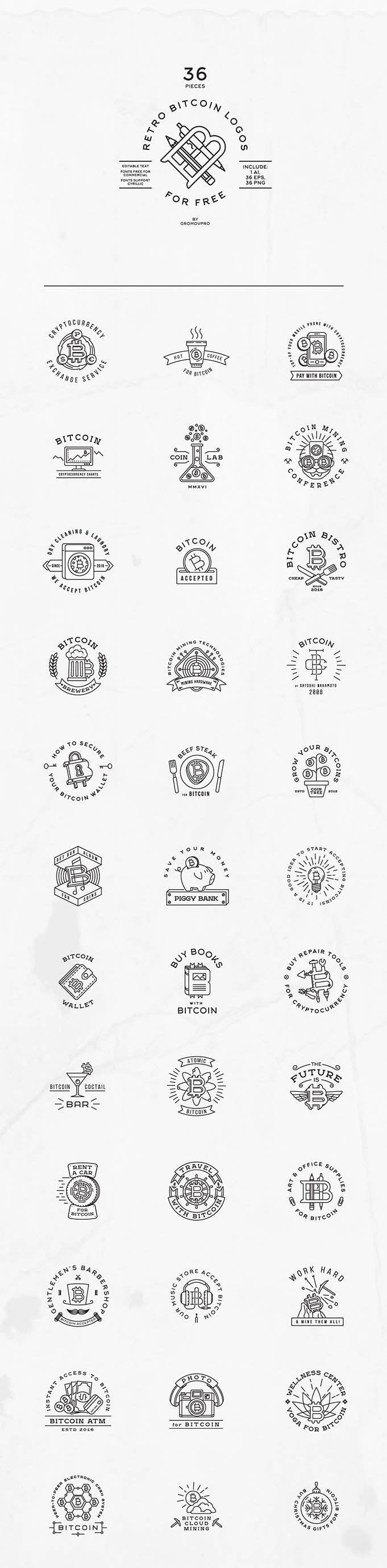 The Fancy Deal » 36 Retro Bitcoin Logos (FREE TEMPLATES)