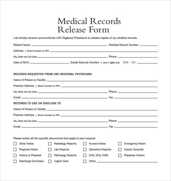 Release Of Medical Records Form Medical Records Medical Records