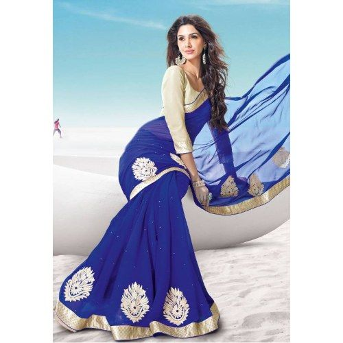 New latest blue partywear chffone saree