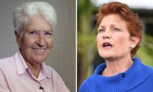 A composite of ex-Olympic swimming legend Dawn Fraser and the leader of Australia's One Nation political party Pauline Hanson.