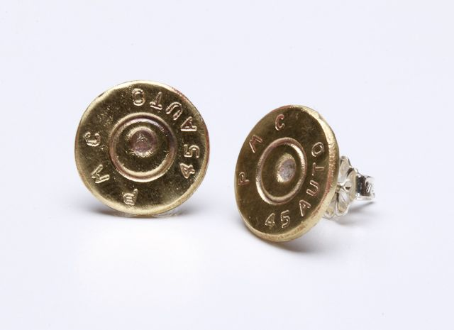 Two Brass .45's that are 10mm in diameter with Sterling Silver posts.