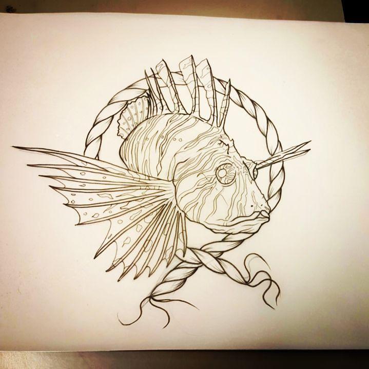 Lionfish design for tomorrow #lionfish #lionfishtattoo #fishtattoo #tattoodesign #tattooideas #cheltenhamtattoo #cheltenham #drawing #sketchoftheday #lovetattoos #pendrawing #linework #customtattoo #nauticaltattoo #oceantattoo #legtattoo #calftattoo #neotraditionaltattoo #ropetattoo #newtattoo #linesonlines #seafood #reeftattoo by ben.ayers.tattoo