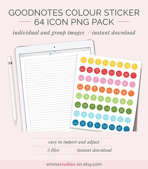 GoodNotes Colourful Icon Note Stickers iPad Tablet Coloured