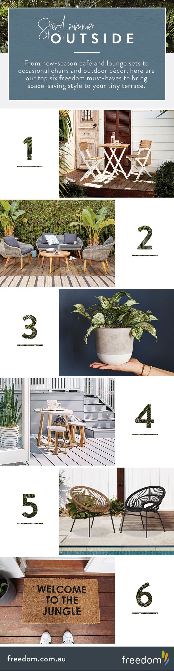 Make smart use of your petite outdoor retreat with our stylish collection of alfresco essentials that are scaled compact while offering maximum impact. From new-season café and lounge sets to occasional chairs and evergreen botanicals, here are our top six freedom must-haves to bring space-saving style to your tiny terrace.