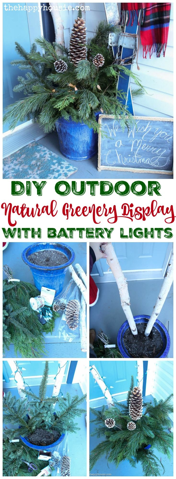 Easy DIY Outdoor Natural Greenery Display with Battery Operated Lights tutorial at thehappyhousie.com