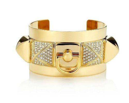 Juicy Couture Pyramid Metal Cuff in Gold Juicy Couture. $64.99. Brass/glass/cubic zirconia. 58 x 35 x 1.5mm