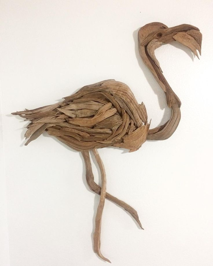 "New driftwood wall hanging. This 44"" Flamingo was a first for me. Looking to put together a good variety for my upcoming April Art Show."