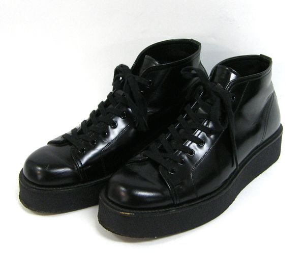 leather trainers with stacked sole • yohji yamamoto  49,000 円