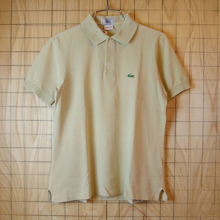 【IZOD LACOSTEアイゾッドラコステ】古着ベージュ鹿の子生地ワンポイントポロシャツ|メンズ1/2 PATRON(M)サイズ