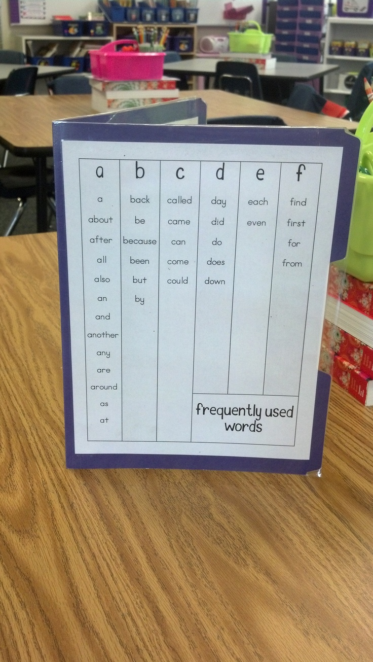 Portable word wall on file folder.  Laminated to add words throughout year.  Sit on student tables.