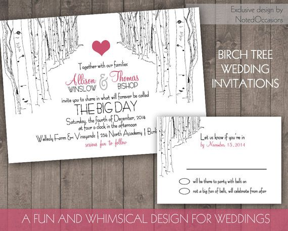 birch tree wedding invitation set rustic wedding invitations winter