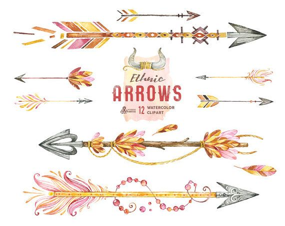 Ethnic Arrows. 12 Watercolor Hand painted Clipart elements, feathers, diy elements, flowers, invite, tribal arrows, boho, digital, greetings