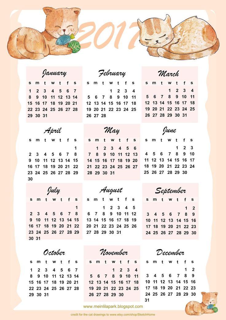 FREE printable 2017 cat calendar