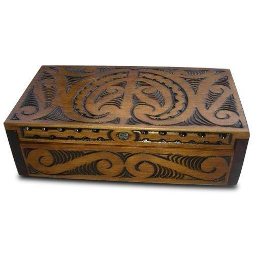 Maori Hand Carved Matai Box with Hinged Lid