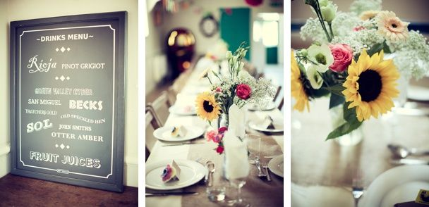 Hessian runners, vintage chairs, jam jars of flowers in village hall fete style wedding in east Devon