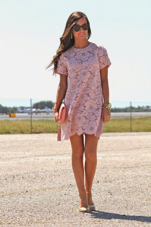blush lace shift dress. just gorg.