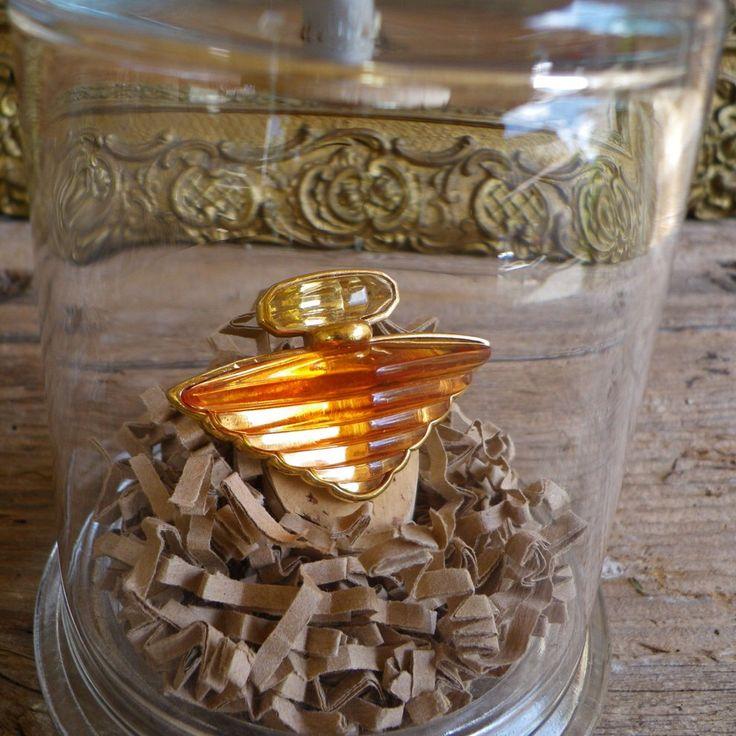 Broche parfum Trésor de Lancôme sous cloche en verre - Broche Lancôme - Broche orange et dorée par LittleBrocante sur Etsy https://www.etsy.com/fr/listing/293980357/broche-parfum-tresor-de-lancome-sous