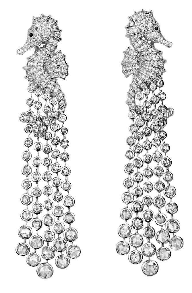 Chopard Seahorse earrings, diamonds set in white gold with onyx accents