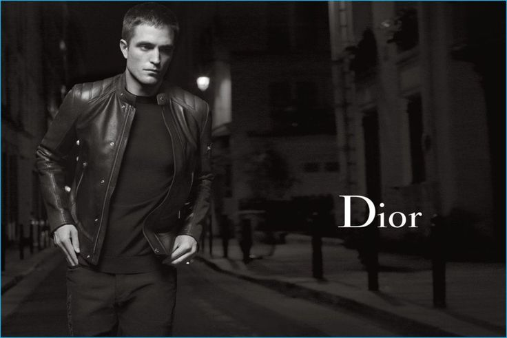 Robert Pattinson pictured in a leather jacket for Dior Homme's spring-summer 2017 campaign.
