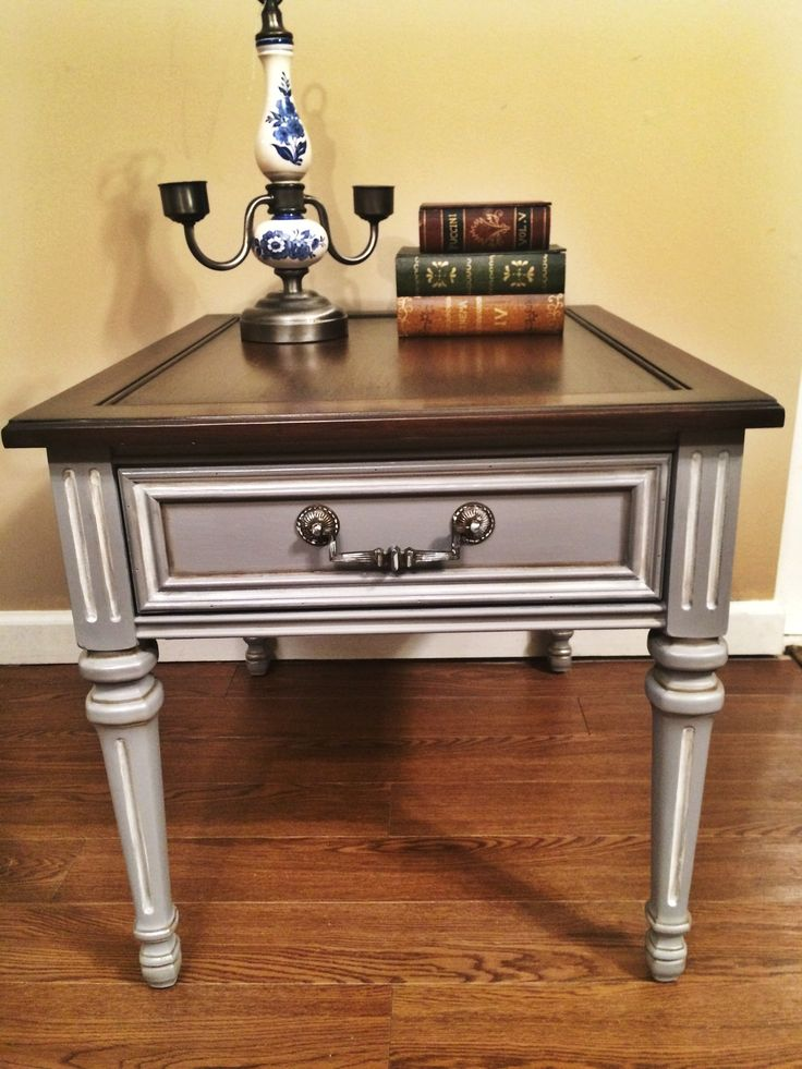"""Vintage, beautiful painted in Paris Grey and General Finishes Antique White, Java gel stain on top, distressed and glazed. Dimensions: H 21""""x D 26""""x W 21"""" by Made New"""