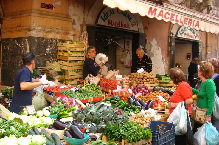 Outdoor Sicilian Market Sicily with Peggy Markel Culinary Adventures www.peggymarkel.com