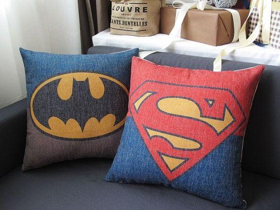 Linen Cotton Pillow Cover BATMAN SUPERMAN hero by homeandlifestyle, $19.00