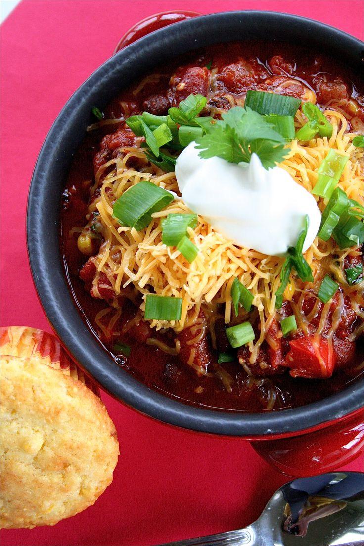 Healthy Vegetarian Chili (Vegan if you don't use the dairy toppings)