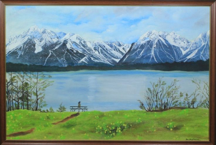 GRAND TETON LAKE VIEW Oil Painting SIZE: 25 INCH X 17 INCH,  OIL PAINTING ON CANVAS WITH BROWN FRAME