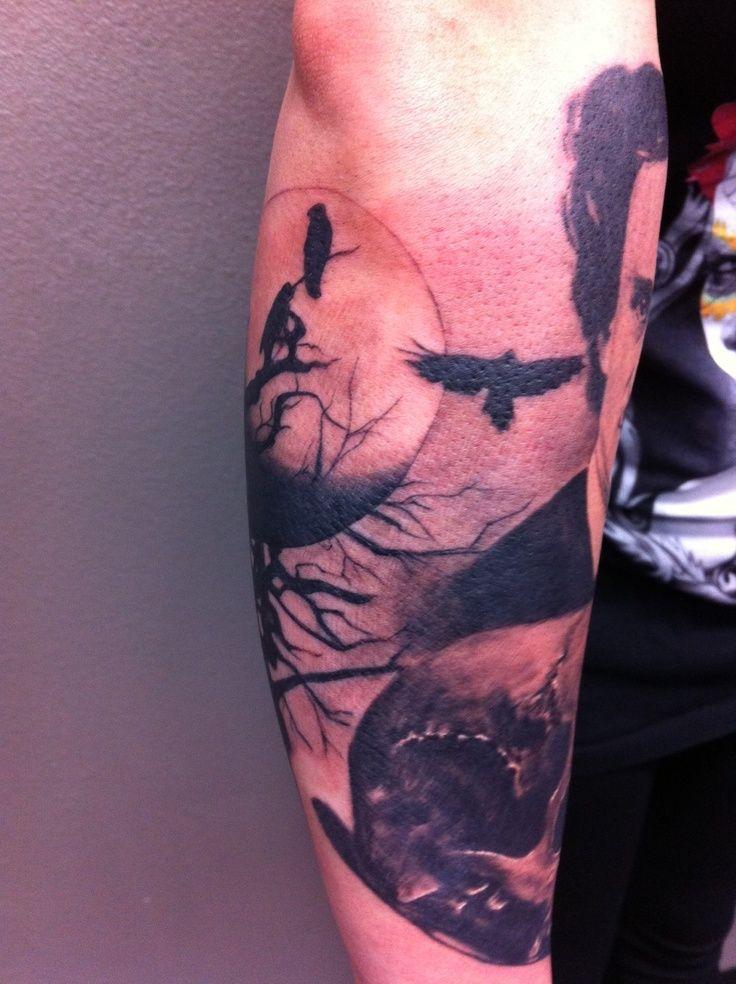 ...  Tattoo Ideas Tree Bird Tattoo Moon Tattoos Poe Skulls Full Moon