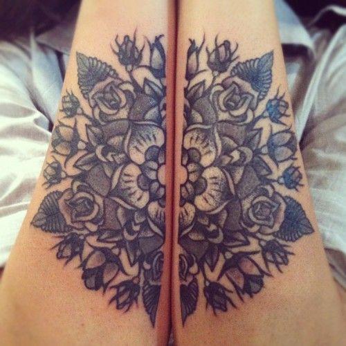 two part mandala: Flowers Tattoo, Tattoo Ideas, Black Tattoo, Feet Tattoo, Tattoo Patterns, Matching Tattoo, Flowers Design, Tattoo Ink, Mandala Tattoo